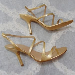 Via Spiga Gold Strappy Ankle High Heel Shoes
